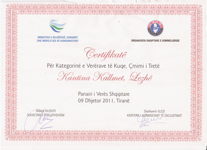 Certificate for red wine category, third prize